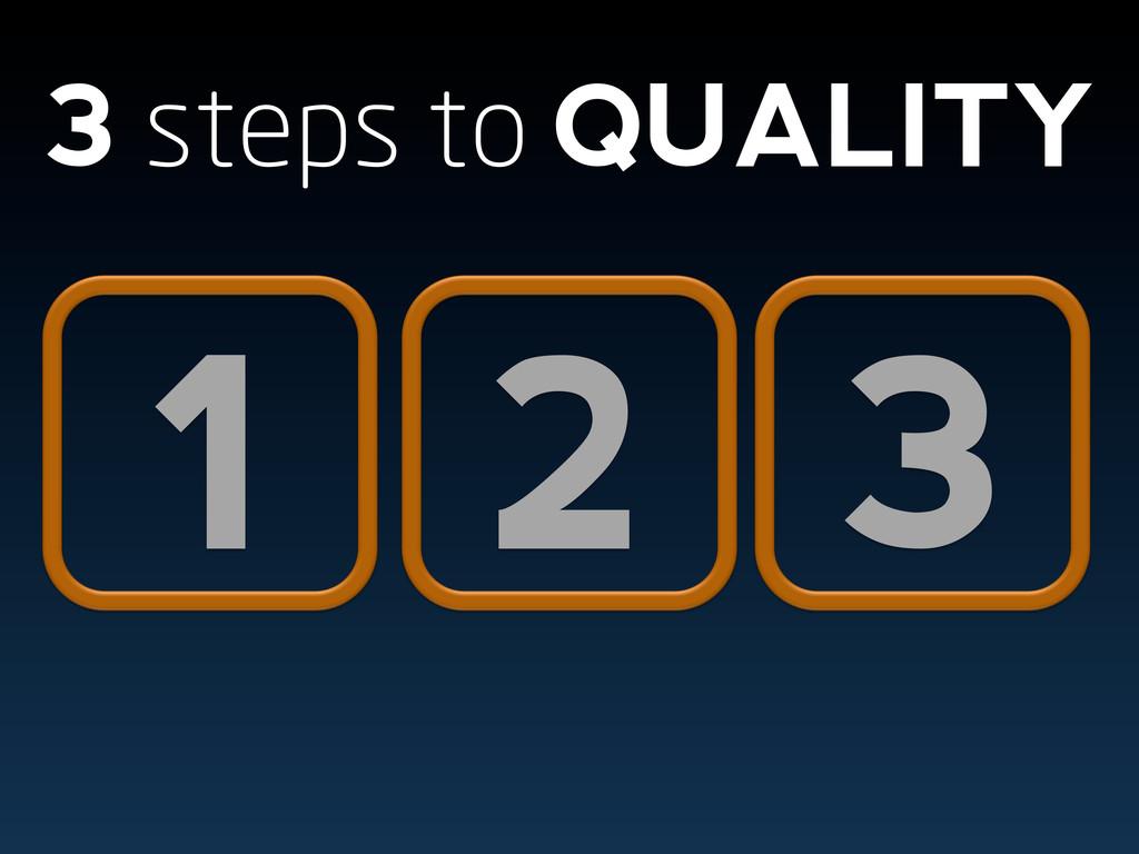 1 2 3 3 steps to QUALITY