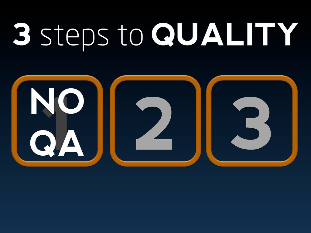 2 3 3 steps to QUALITY 1 NO QA