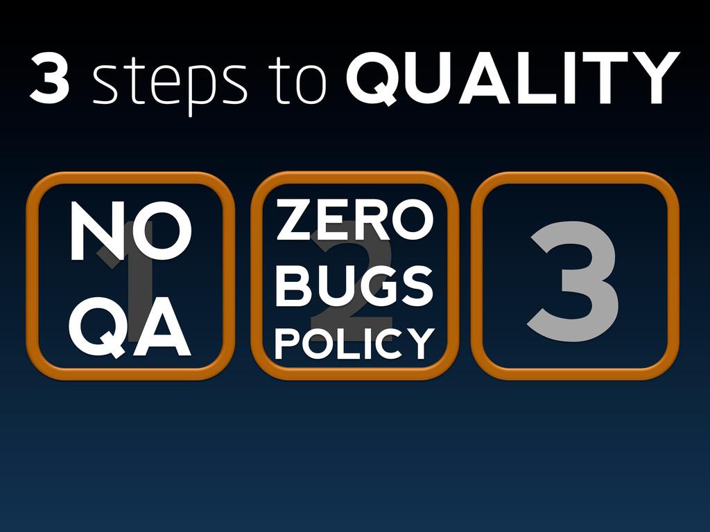 3 3 steps to QUALITY 1 NO QA 2 ZERO BUGS POLICY