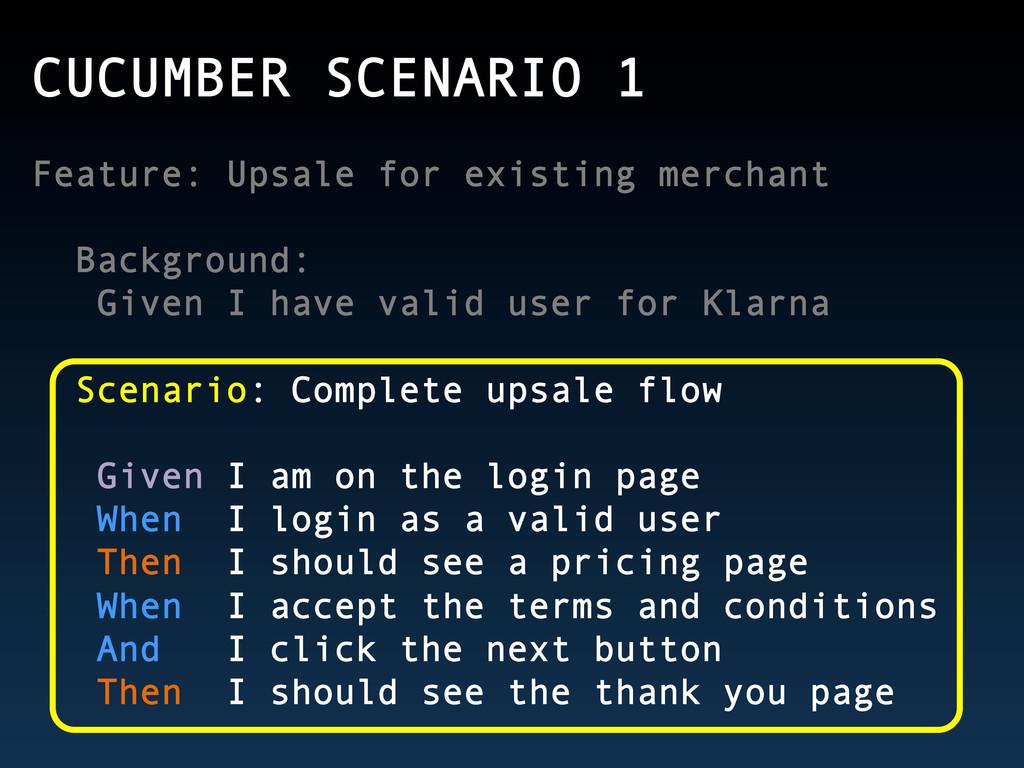CUCUMBER SCENARIO 1 Feature: Upsale for existin...