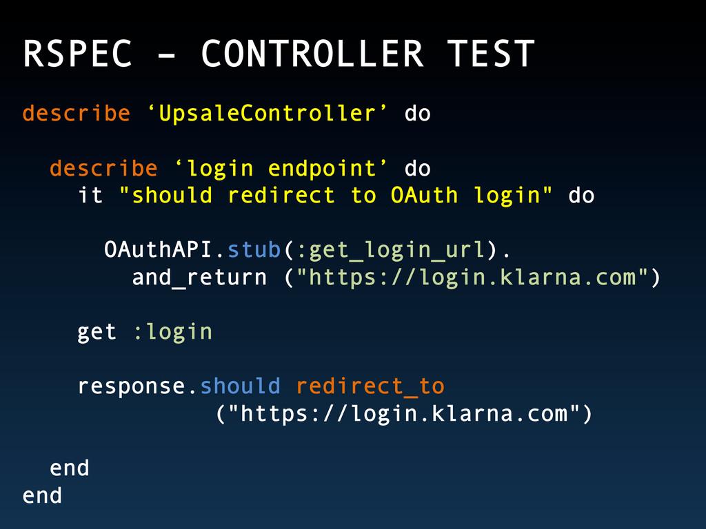 RSPEC – CONTROLLER TEST describe 'UpsaleControl...