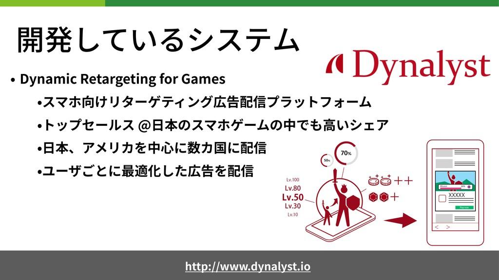 開発しているシステム • Dynamic Retargeting for Games •スマホ...