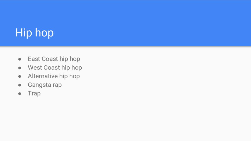 ● East Coast hip hop ● West Coast hip hop ● Alt...