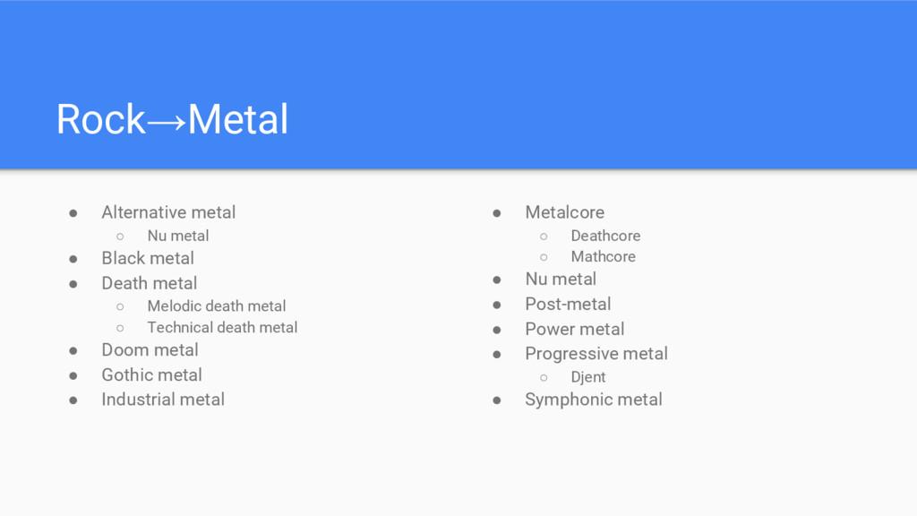 ● Alternative metal ○ Nu metal ● Black metal ● ...