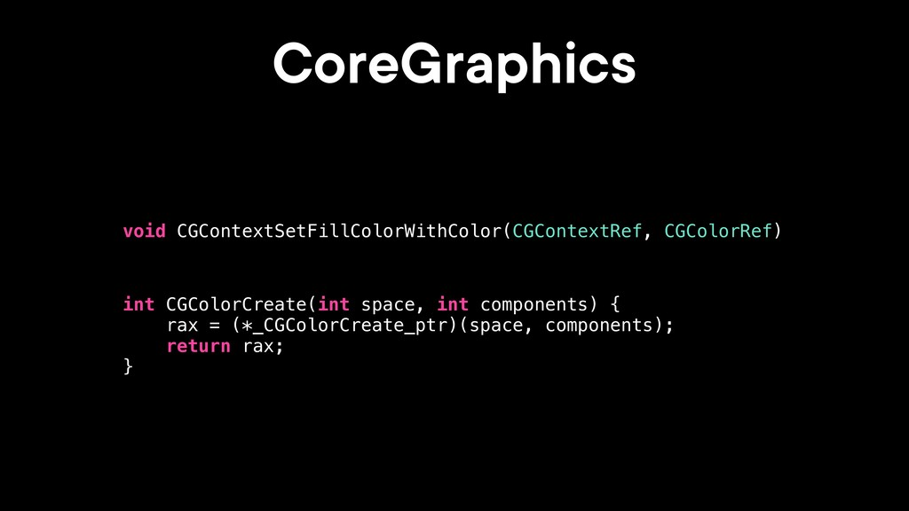 CoreGraphics int CGColorCreate(int space, int c...