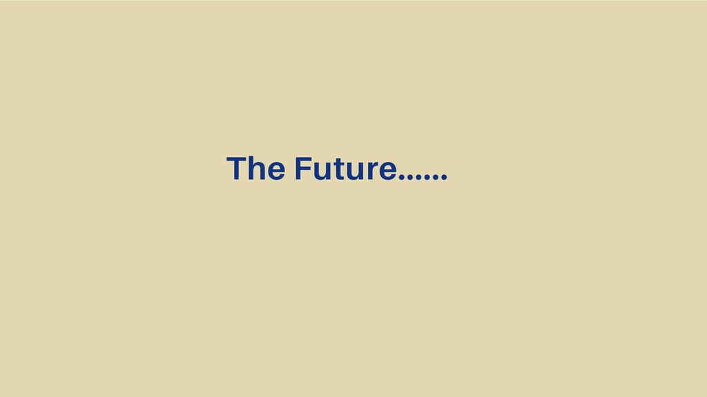 The Future......