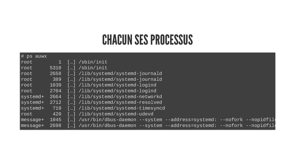 CHACUN SES PROCESSUS CHACUN SES PROCESSUS # ps ...