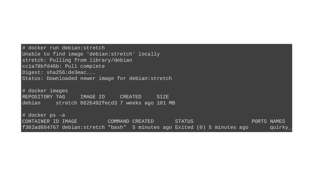 # docker run debian:stretch Unable to find imag...