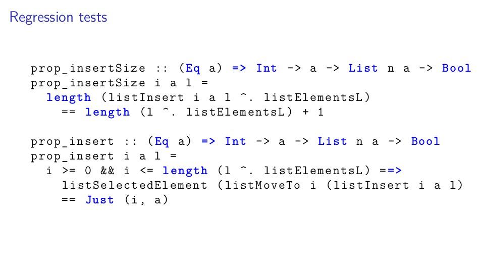 Regression tests prop_insertSize :: (Eq a) => I...