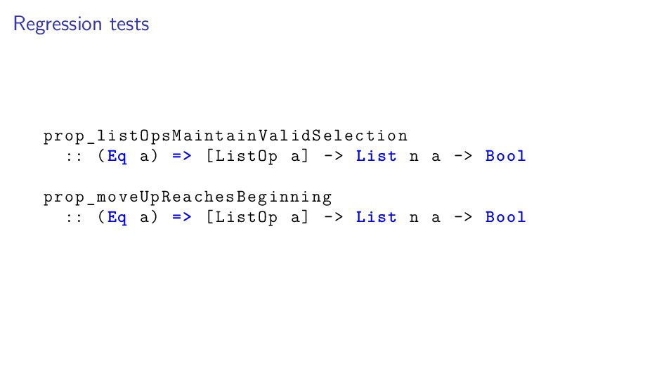 Regression tests prop_listOpsMaintainValidSelec...
