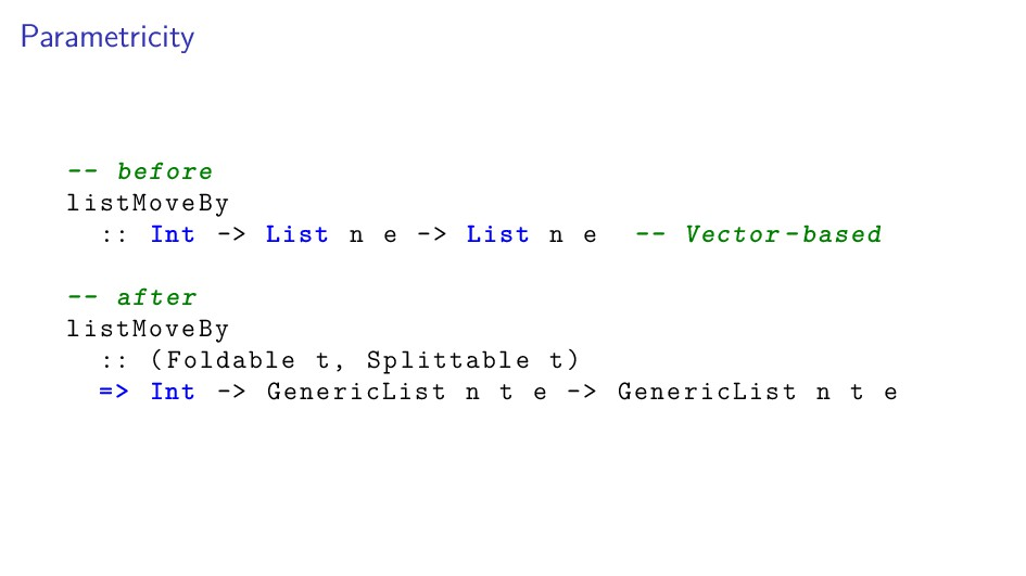 Parametricity -- before listMoveBy :: Int -> Li...
