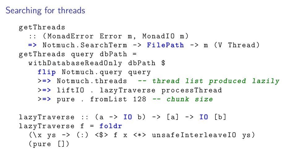 Searching for threads getThreads :: (MonadError...