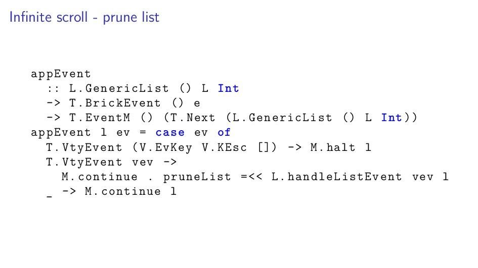 Infinite scroll - prune list appEvent :: L.Gener...