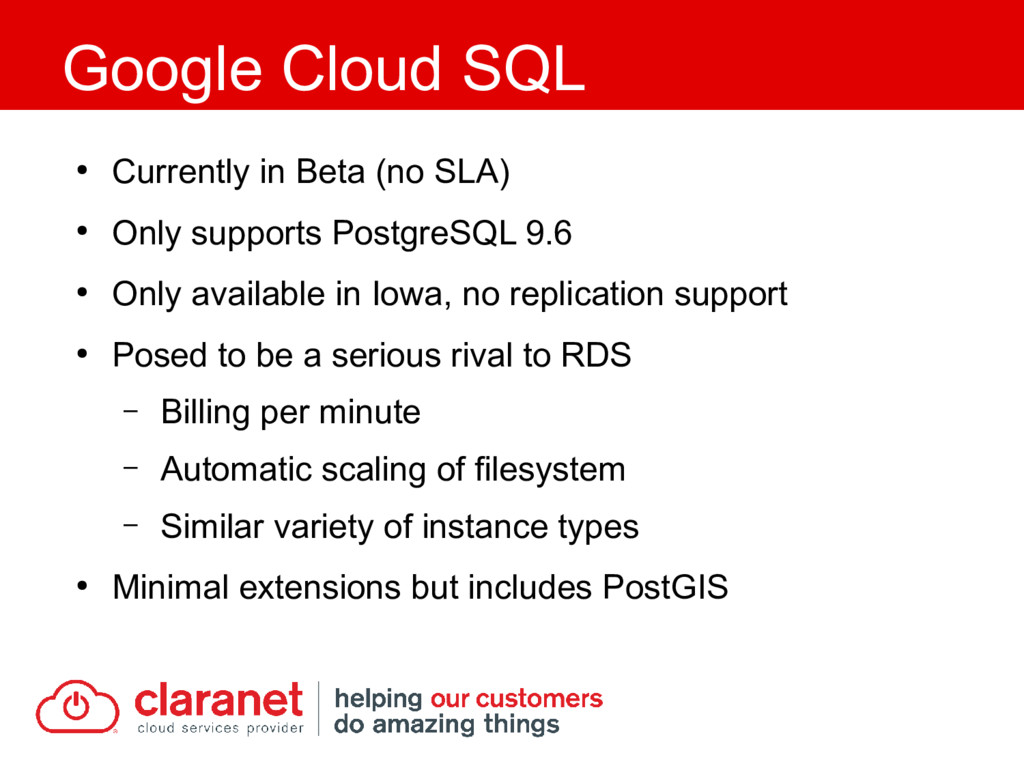 ● Currently in Beta (no SLA) ● Only supports Po...
