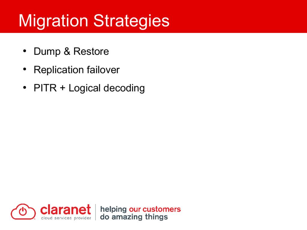 ● Dump & Restore ● Replication failover ● PITR ...