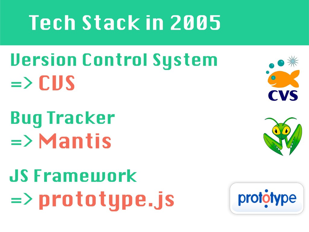 Tech Stack in 2005 Version Control System => CV...