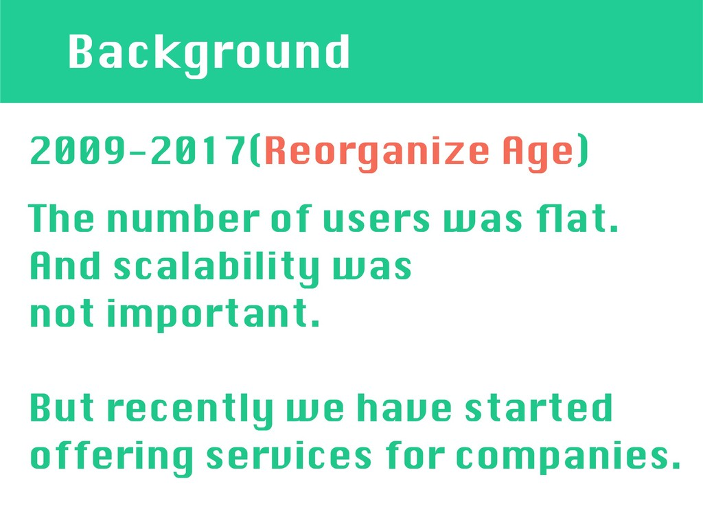 Background 2009-2017(Reorganize Age) The number...