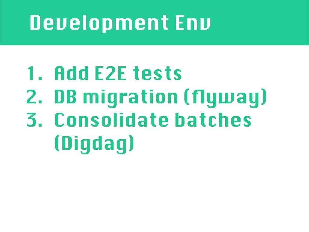 Development Env 1. Add E2E tests 2. DB migratio...