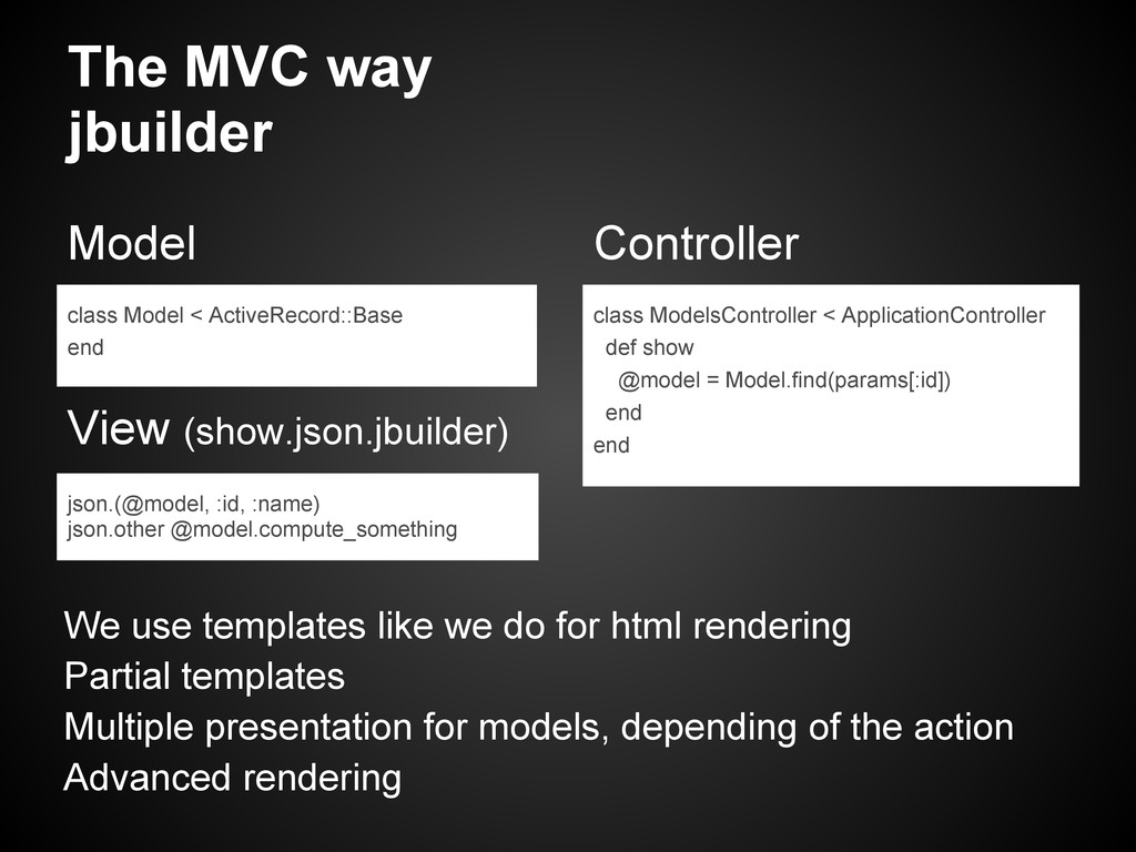 The MVC way jbuilder Model View (show.json.jbui...
