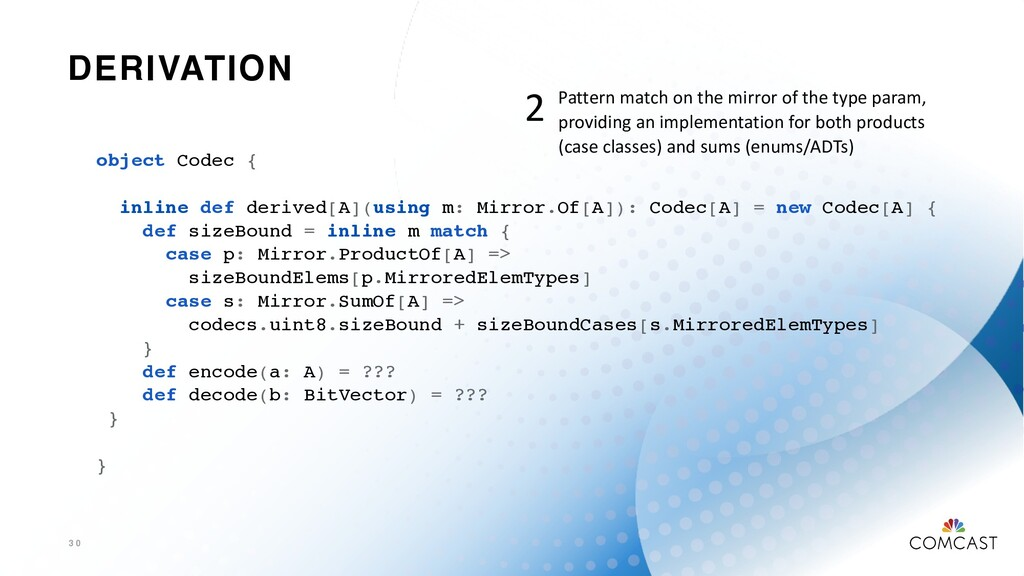 DERIVATION 3 0 object Codec { inline def derive...