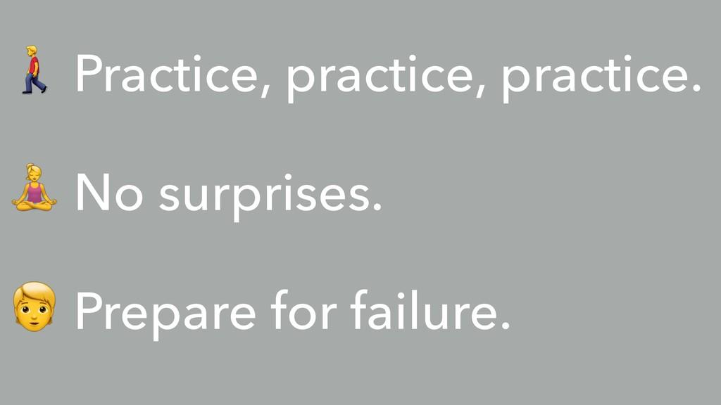 % Practice, practice, practice. & No surprises....