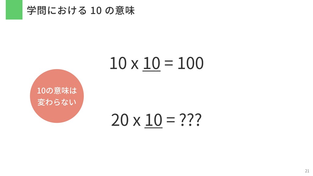 学問における 10 の意味 21 10 x 10 = 100 20 x 10 = ??? 10...