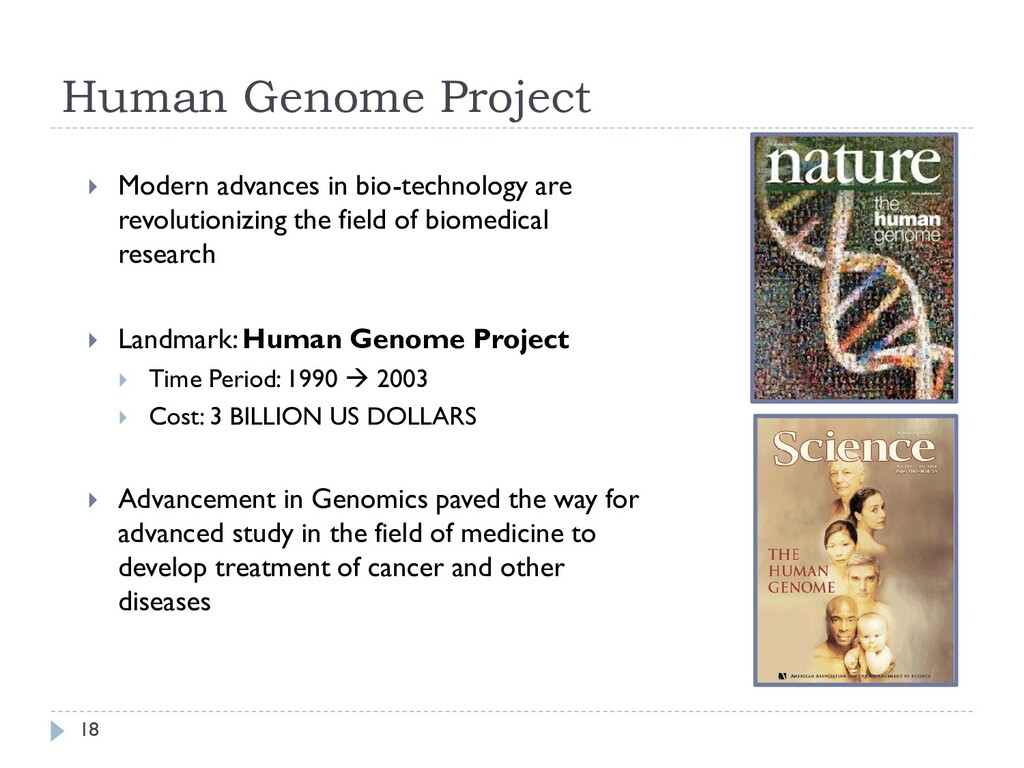 Human Genome Project  Modern advances in bio-t...