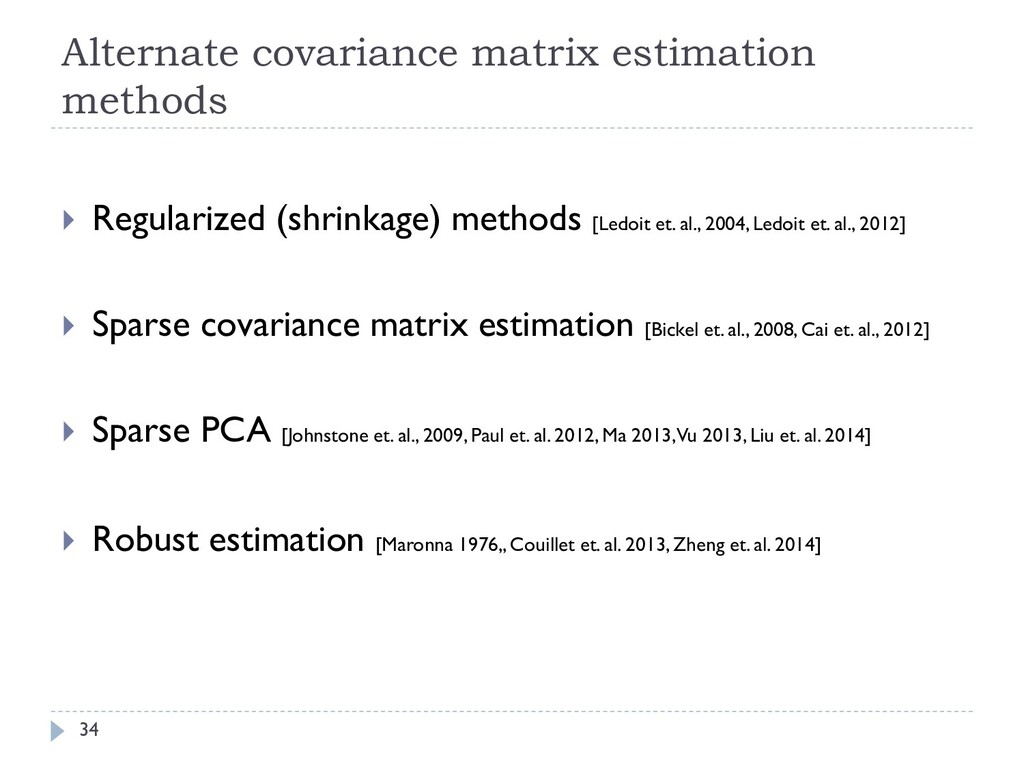 Alternate covariance matrix estimation methods ...