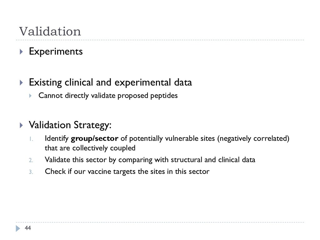 Validation 44  Experiments  Existing clinical...