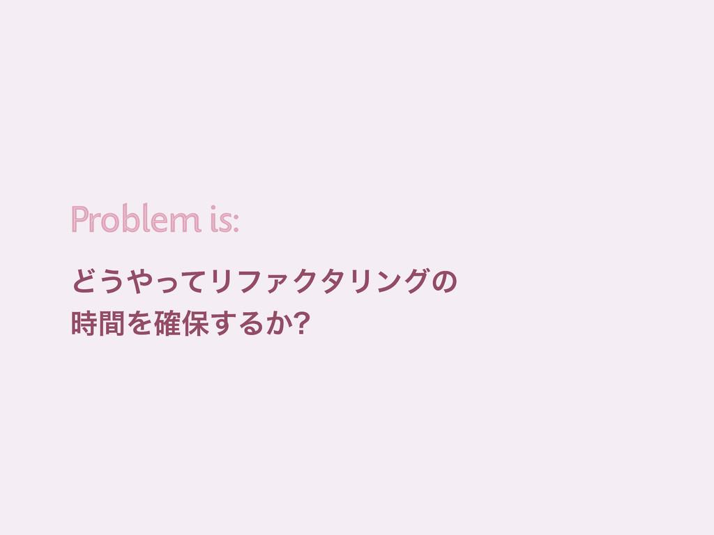 Ͳ͏ͬͯϦϑΝΫλϦϯάͷ ؒΛ֬อ͢Δ͔ Problem is: Problem is:
