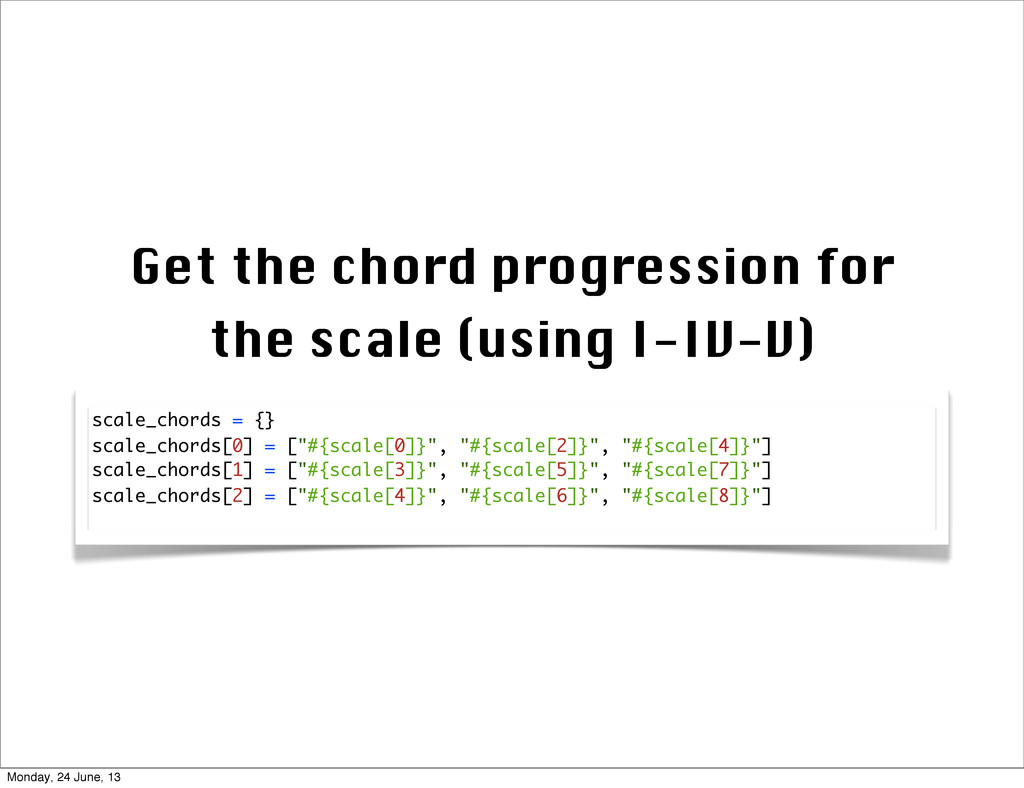 Get the chord progression for the scale (using ...