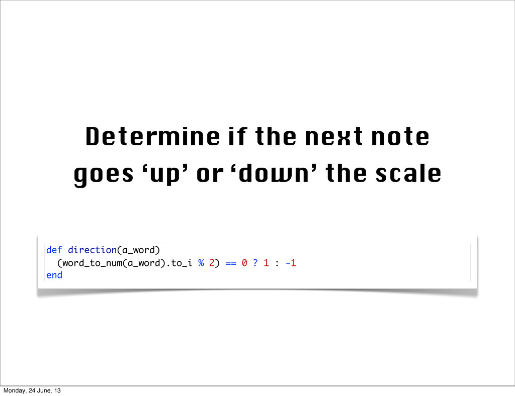 Determine if the next note goes 'up' or 'down' ...