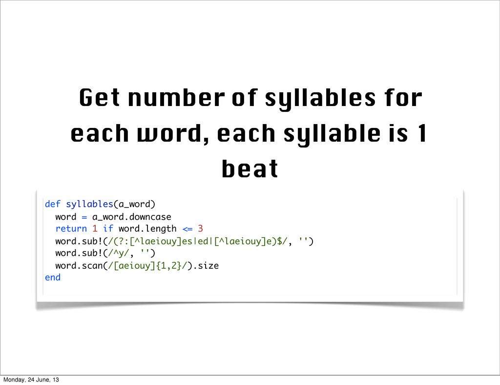 Get number of syllables for each word, each syl...