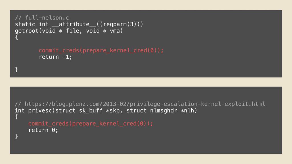 // full-nelson.c static int __attribute__((regp...
