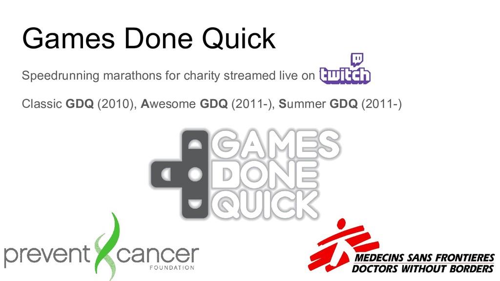 Games Done Quick Speedrunning marathons for cha...