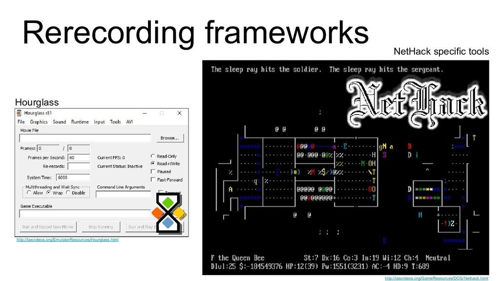 Rerecording frameworks Hourglass NetHack specif...