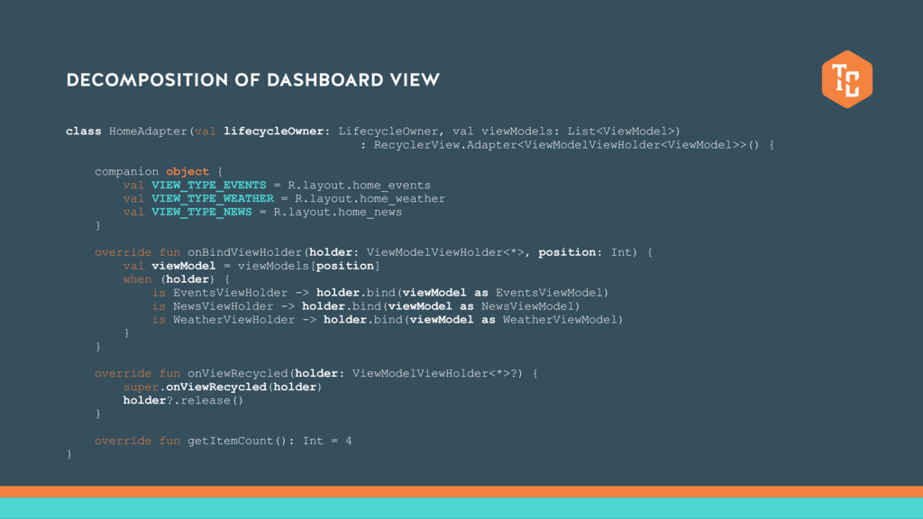 DECOMPOSITION OF DASHBOARD VIEW class HomeAdapt...