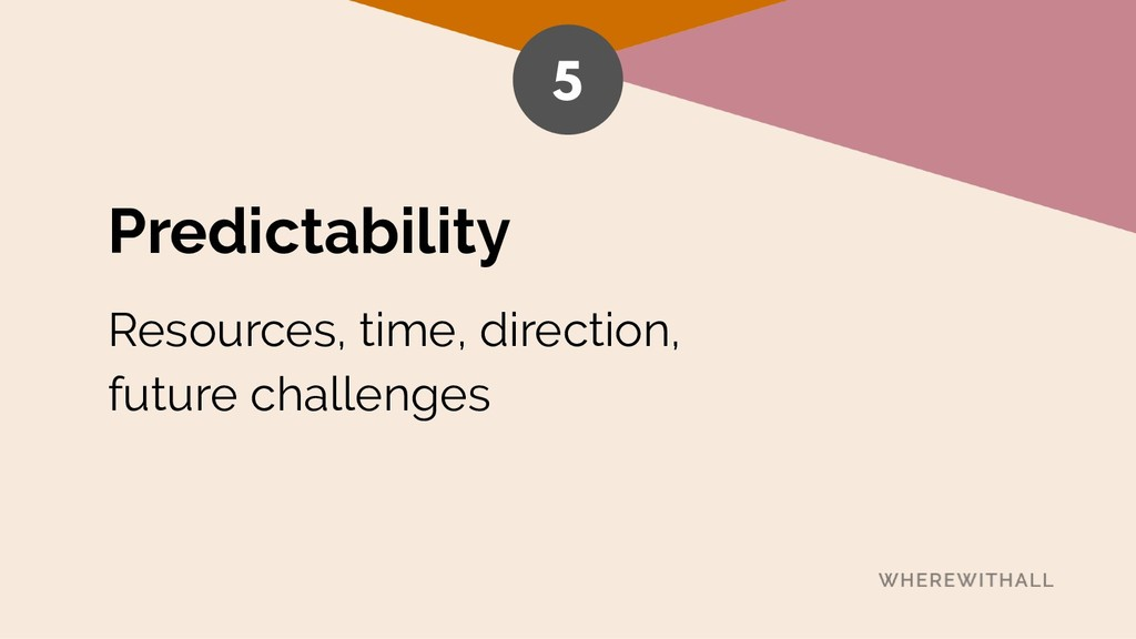 Predictability Resources, time, direction,  fu...