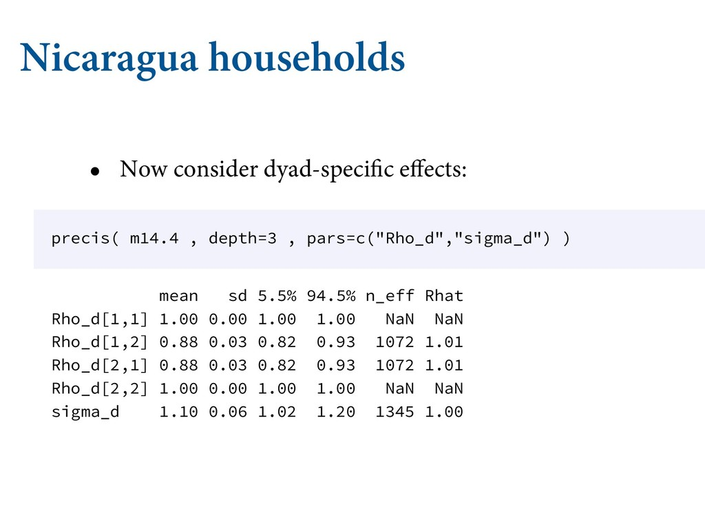 Nicaragua households • Now consider dyad-specif...