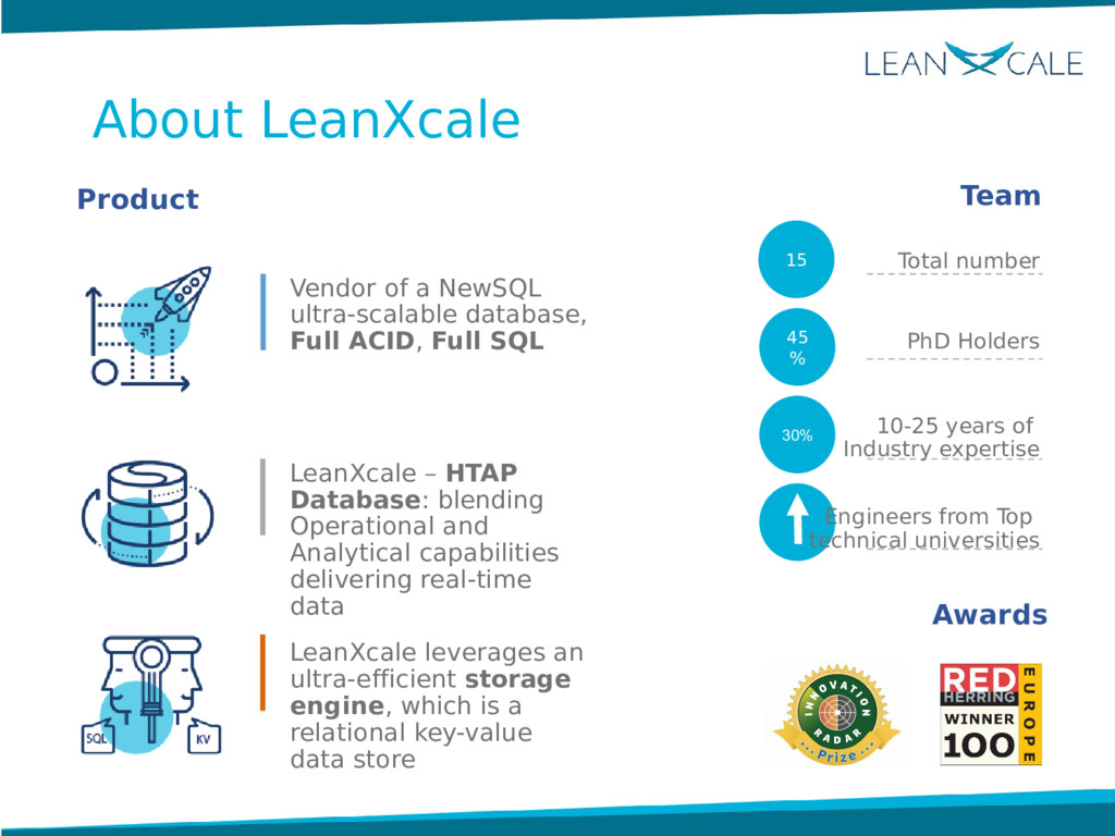 About LeanXcale Vendor of a NewSQL ultra-scalab...