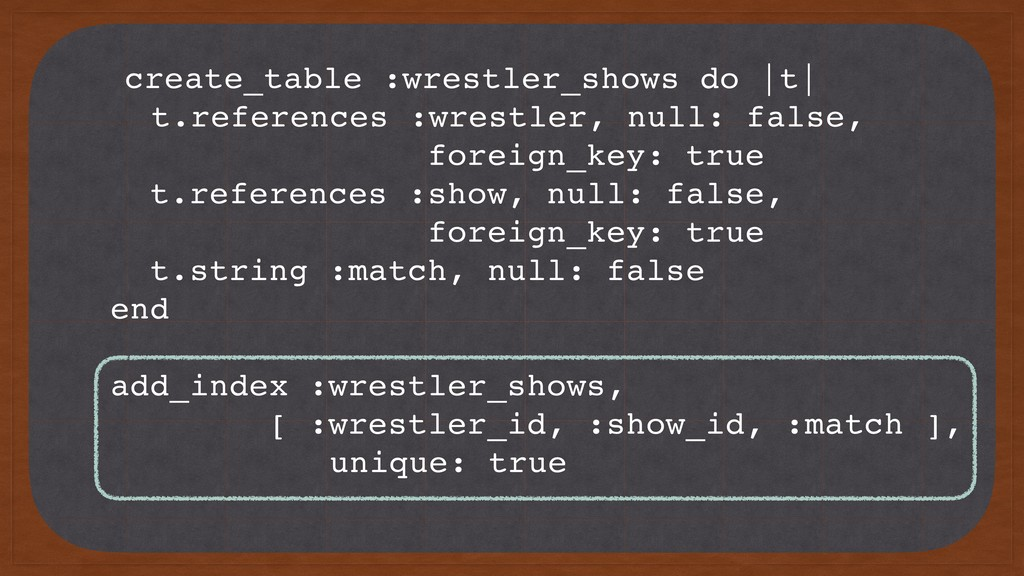create_table :wrestler_shows do |t| t.reference...