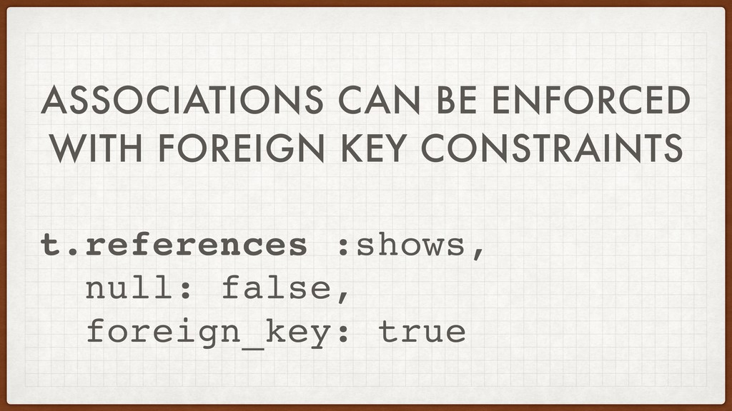 ASSOCIATIONS CAN BE ENFORCED WITH FOREIGN KEY C...