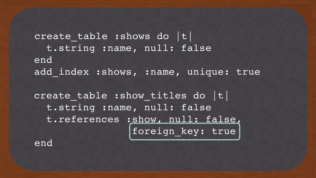 create_table :shows do |t| t.string :name, null...
