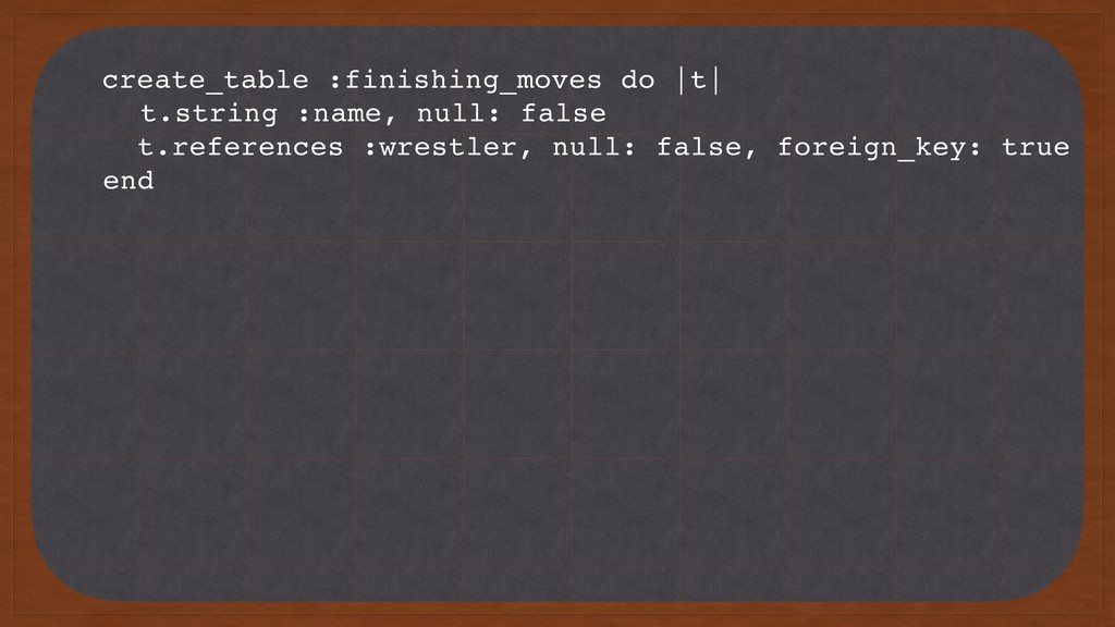 create_table :finishing_moves do |t| t.string :...