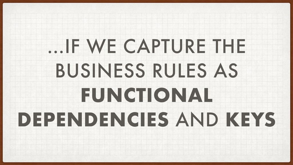 …IF WE CAPTURE THE BUSINESS RULES AS FUNCTIONAL...