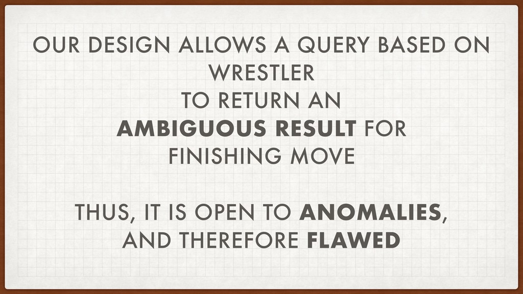 OUR DESIGN ALLOWS A QUERY BASED ON WRESTLER TO ...