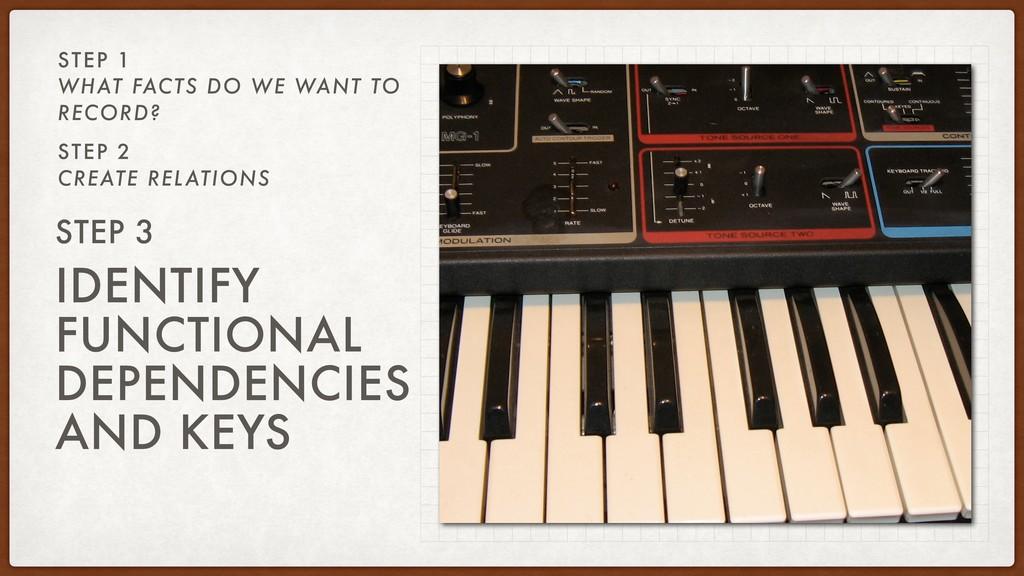 IDENTIFY FUNCTIONAL DEPENDENCIES AND KEYS STEP ...