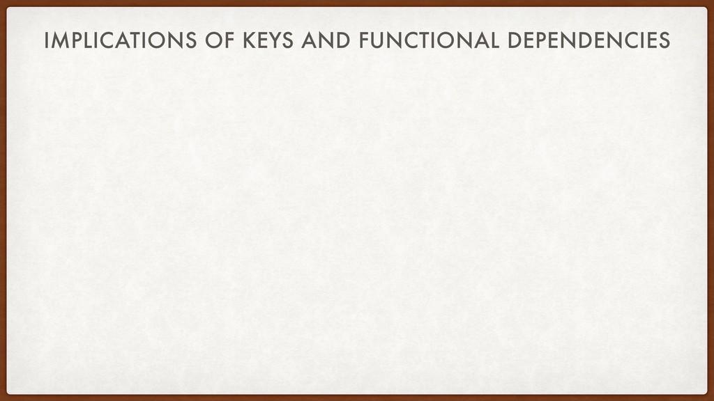 IMPLICATIONS OF KEYS AND FUNCTIONAL DEPENDENCIES