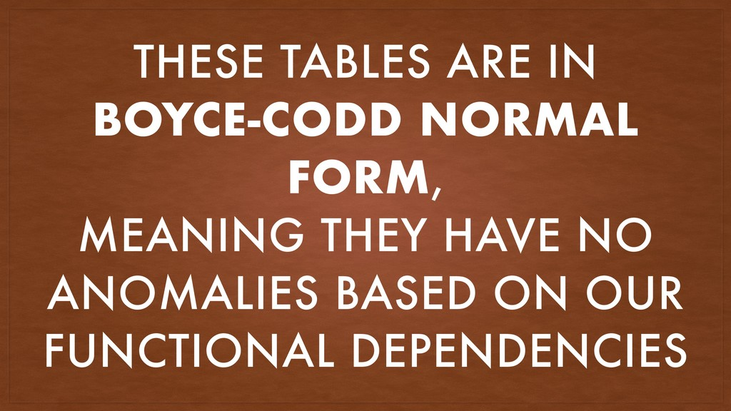 THESE TABLES ARE IN BOYCE-CODD NORMAL FORM, MEA...