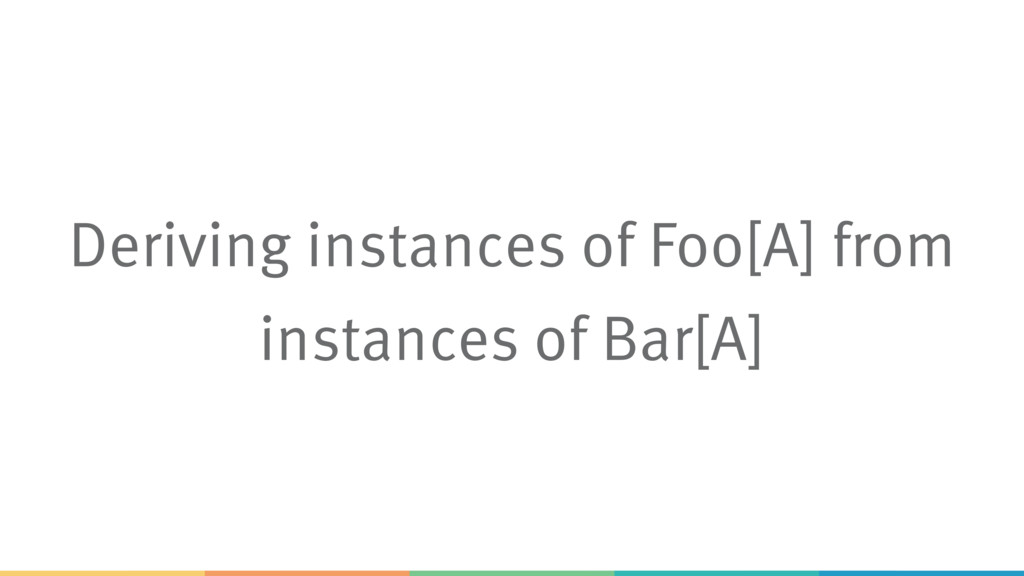 Deriving instances of Foo[A] from instances of ...